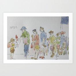 The water queue Art Print