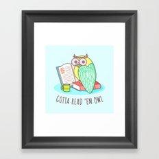 Reading Owl Framed Art Print