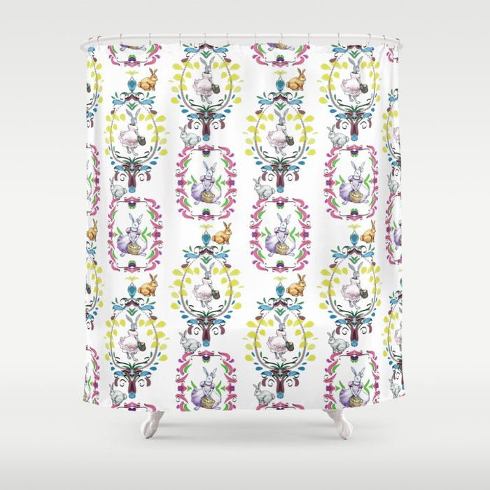 Dressed Easter bunnies 1 Shower Curtain