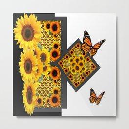 GOLD SUNFLOWERS & MONARCH BUTTERFLIES ART DECO Metal Print