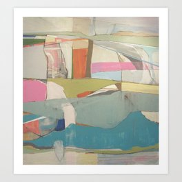 """tidal pool"" abstract art in turquoise, cream, white, orange and pink by Art Print"