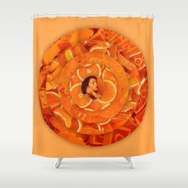 Orange circles aesthetic rings Shower Curtain