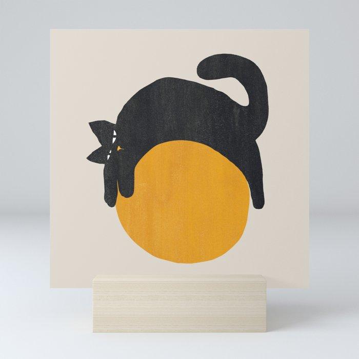 Cat with ball Mini Art Print