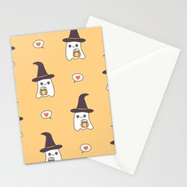 cute cartoon ghosts with pumpkins pattern background Stationery Cards