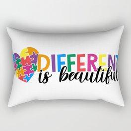 Different Is Beautiful Autism Awareness Heart Rectangular Pillow