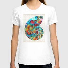 Colorful Nautilus Shell by Sharon Cummings T-shirt