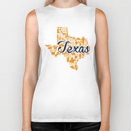 UTEP Texas Landmark State - Blue and Orange UTEP Theme Biker Tank