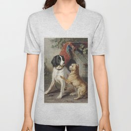 Two dogs by a kennel by Conradijn Cunaeus (1828–1895). Unisex V-Neck