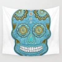 sugar skull Wall Tapestries featuring sugar skull by Ancello