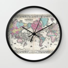 1852 J.H. Colton Map of the World Wall Clock