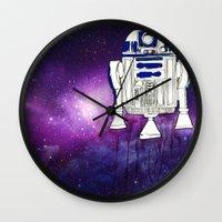r2d2 Wall Clocks featuring r2d2 by Lovemaltine