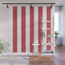 English vermillion pink - solid color - white vertical lines pattern Wall Mural