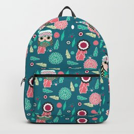 Owls and flowers in blue Backpack