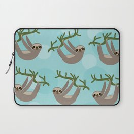 Three-toed sloth on green branch blue background Laptop Sleeve