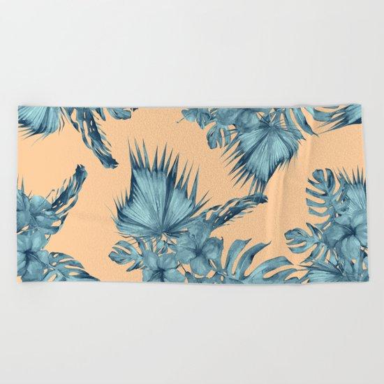 Island Love Hibiscus Palm Orange Teal Blue Beach Towel