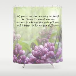 Serenity Prayer Lilac Buds Shower Curtain