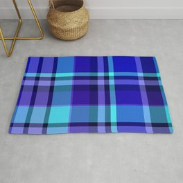 Blue Plaid Pattern Rug