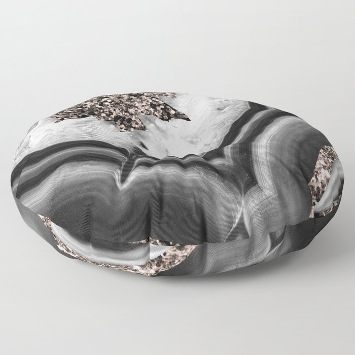 Gray Black White Agate with Rose Gold Glitter #2 #gem #decor #art #society6 Floor Pillow