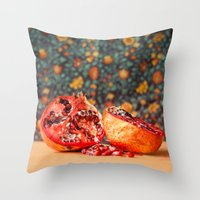 pomegranate Throw Pillows featuring Pomegranate by Marie Carr