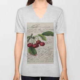 shabby elegance french country botanical illustration vintage red cherry Unisex V-Neck