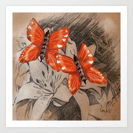 Butterflies and Lillies Art Print