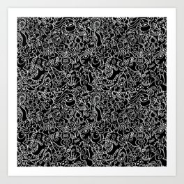 Pattern design crowded with terrific doodles Art Print