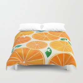 Orange Slices With Blossoms Duvet Cover