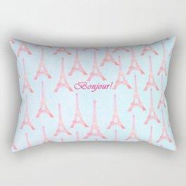 Chic pink teal watercolor Eiffel Tower pattern  Rectangular Pillow