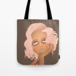 portrait of girl with pink hair and tattoos Tote Bag