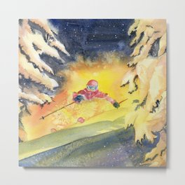 Skiing Art Metal Print