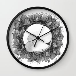 BnW Cozy on Sweet Pea Wall Clock