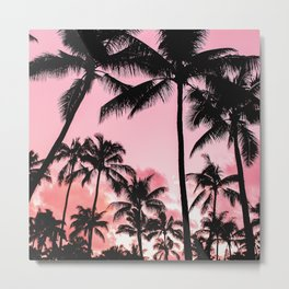 Tropical Trees Silhouette Metal Print