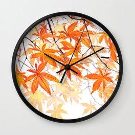 orange maple leaves watercolor Wall Clock