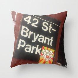 Bryant Park station Throw Pillow