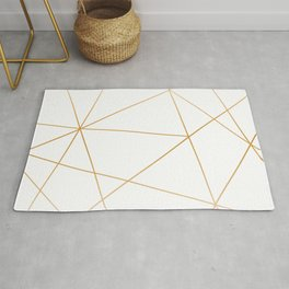 geometric gold and white Rug