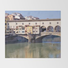 Kayaking Under Ponte Vecchio Throw Blanket
