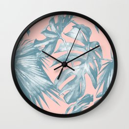 Tropical Leaves Ocean Blue on Coral Pink Wall Clock