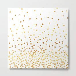 Floating Dots - Cream and Gold on White Metal Print