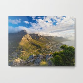 Table Mountain at sunset seen from the Lion's Head, Cape Town | South Africa travel photography Metal Print