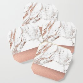 Rose gold marble and foil Coaster