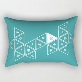 Teal Unrolled D20 Rectangular Pillow