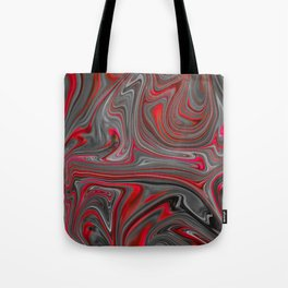 Red and Gray Liquid Marble Swirling Pattern Texture Artwork #4 Tote Bag