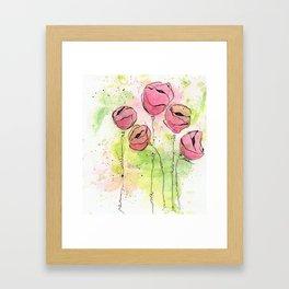 Pink and Green Splotch Flowers Framed Art Print