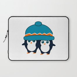 When two cute penguins find a beanie Laptop Sleeve