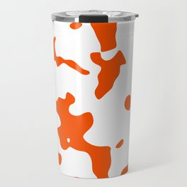 Large Spots - White and Dark Orange Travel Mug