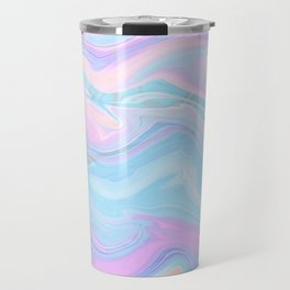 Sea Marble Candy Pattern - Violet, Aqua and Blue Travel Mug