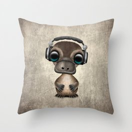 Cute Baby Platypus Deejay Wearing Headphones Throw Pillow