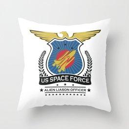 US Space Force Crew Member Art Alien Liason Officer Light Throw Pillow