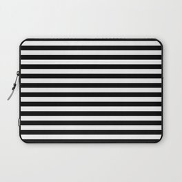 Modern Black White Stripes Monochrome Pattern Laptop Sleeve