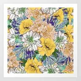 Trendy Yellow & Green Floral Girly Illustration Art Print